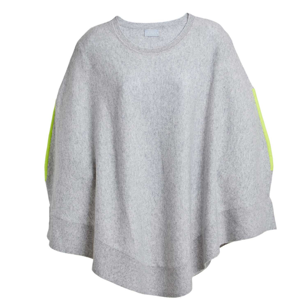 Grey & Neon Yellow Cashmere Poncho