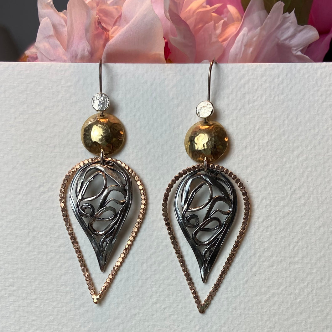 Copper Gold and Silver Earrings