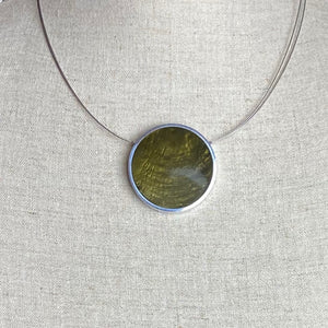 Green and Bronze reversible Disc  Necklace