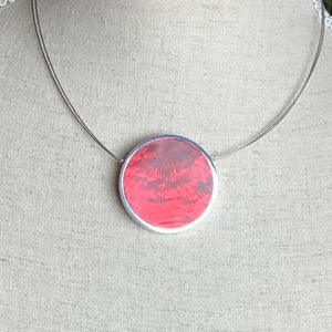 Red/ Orange Disc Reversible Necklace