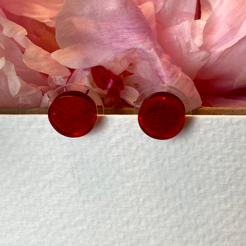 Red Small Disc Earings