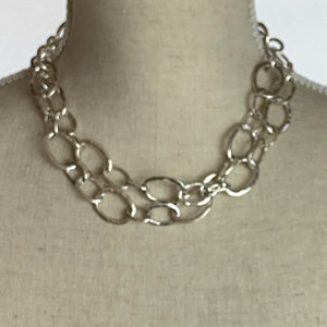 Heavy Silver Double Chain Necklace