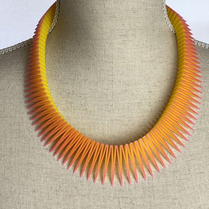 Pink on Yellow Serpent Necklace