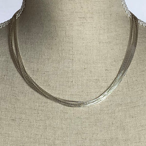 Liquid Silver 10 Strand Necklace