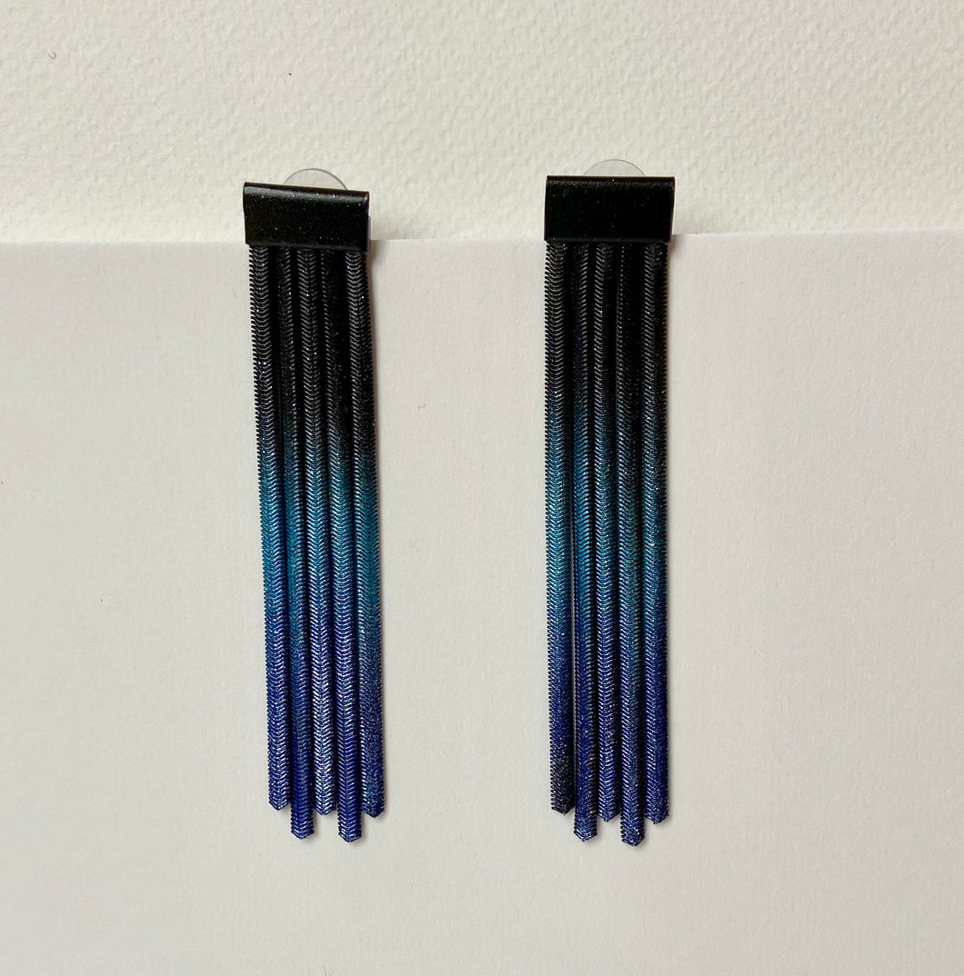 Teal Blue Black Earrings