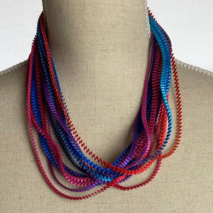 Purple/ Fuschia/ Silver/ Blue Necklace