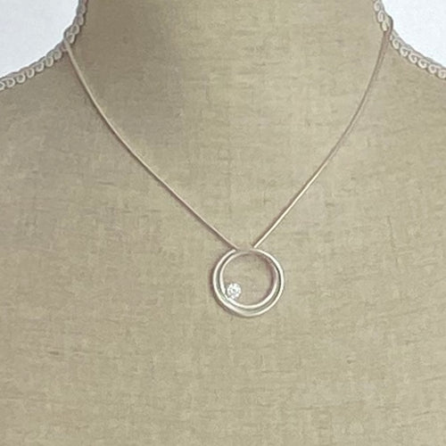 Satin Silver Pendant with stone