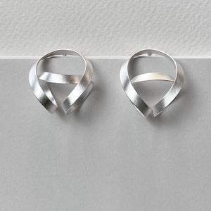 Beautifully Wound Satin Silver Earrings