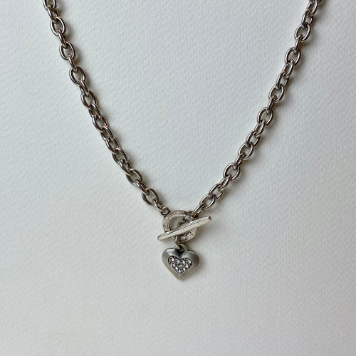 Pewter Necklace with Heart and Stones