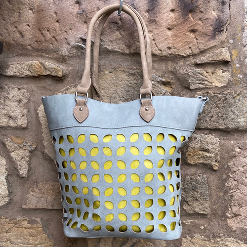Grey/Yellow/Brown Laser cut Tote Bag with interior Shoulder bag