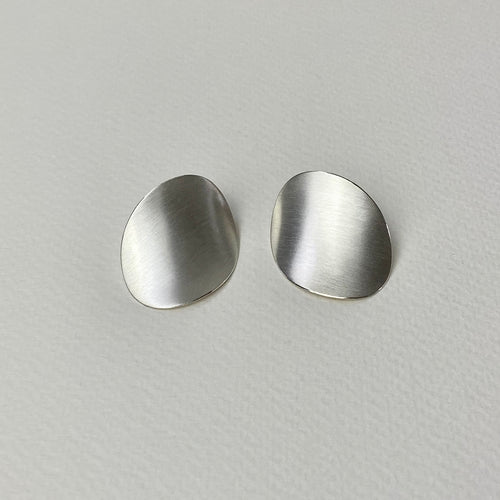 Silver Curved Disc Earrings