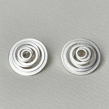 Load image into Gallery viewer, Silver Spiral Clip On Earrings