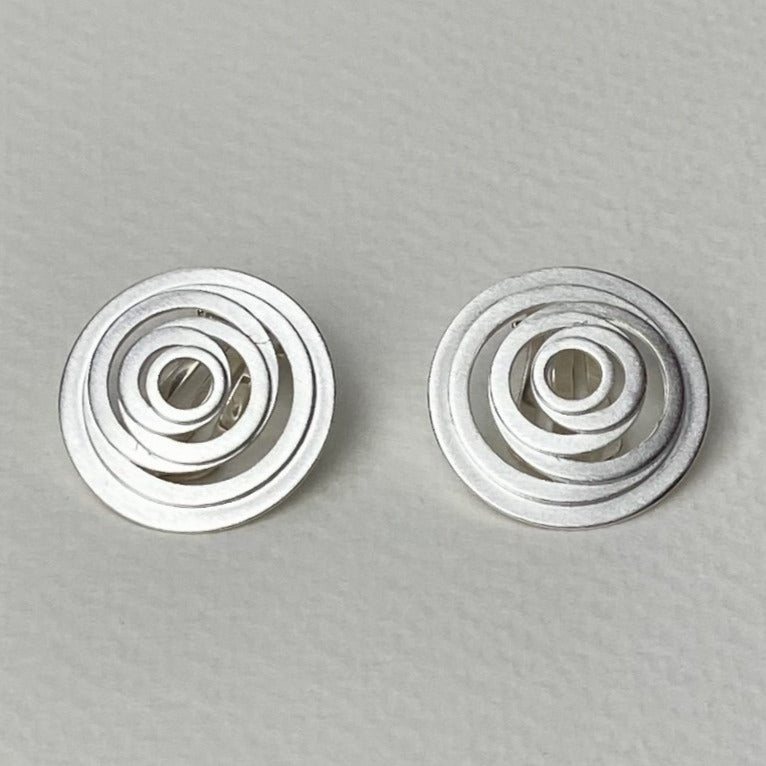 Silver Spiral Clip On Earrings