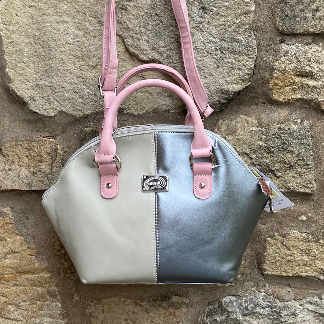 Jester Beige, Silver and Pink Bag