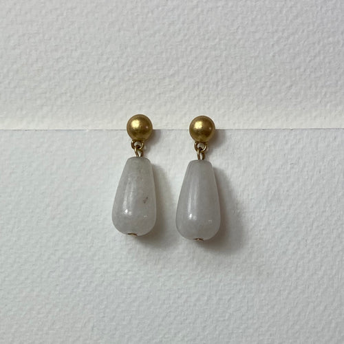 Satin Gold stud with White Jade drop.  Earrings