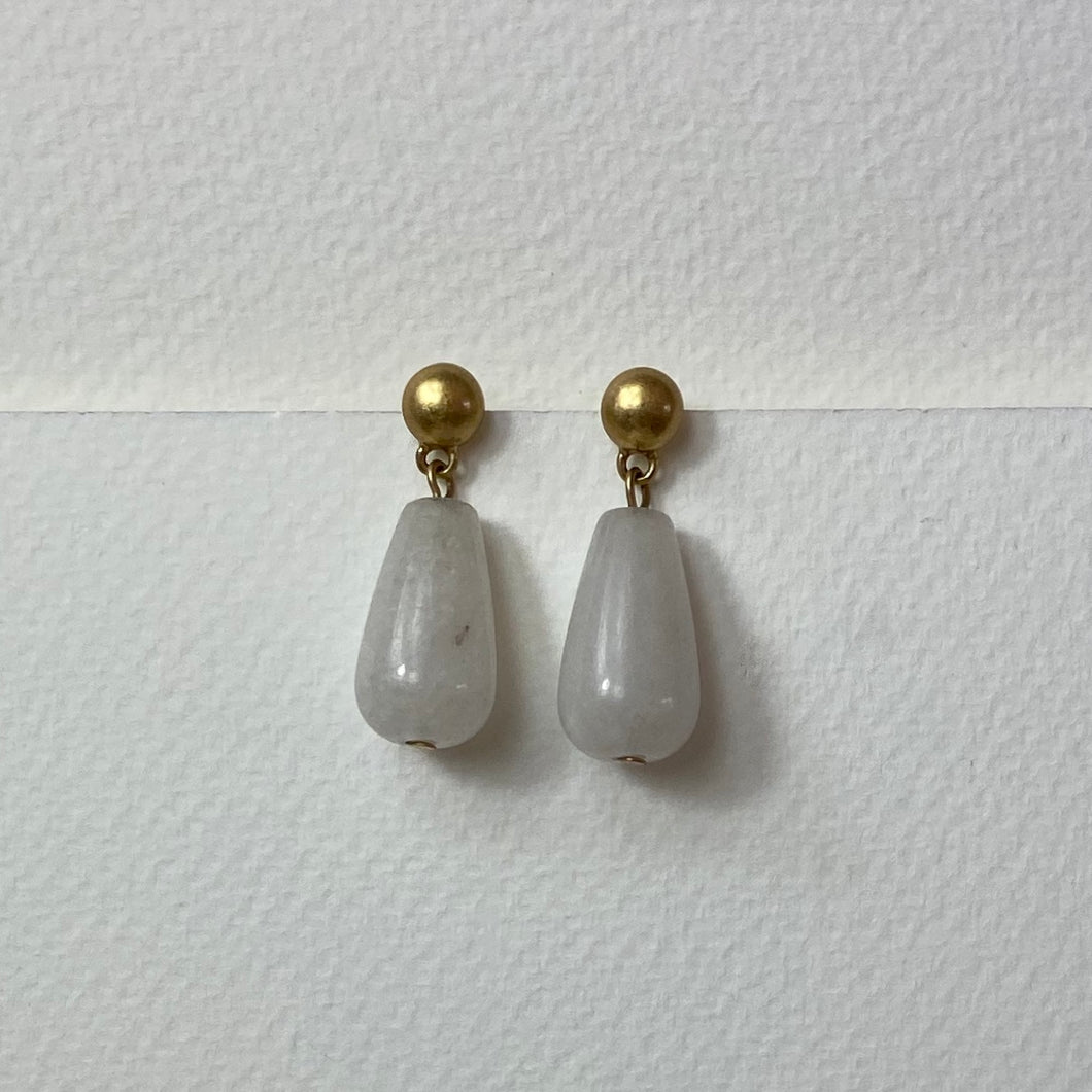 Satin Gold stud with White Jade Earrings