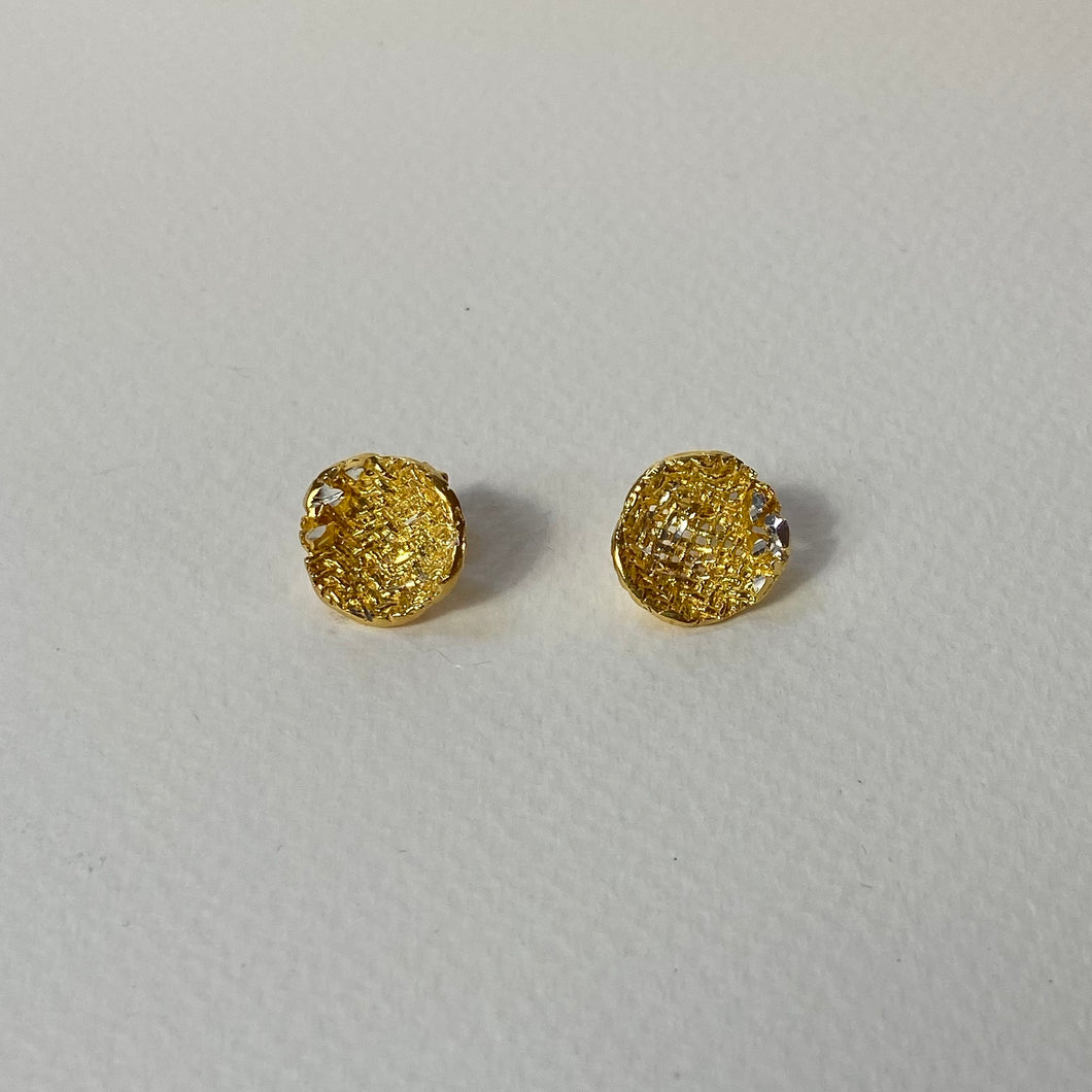 Gold Texture Cup Earrings