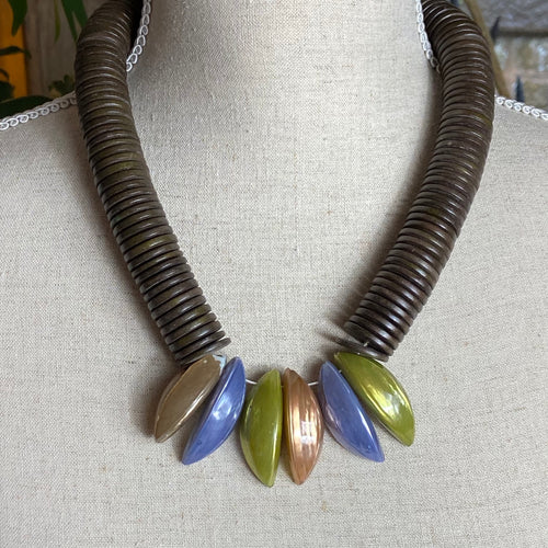 Troca Shell Necklace Mocha Green and Lilac