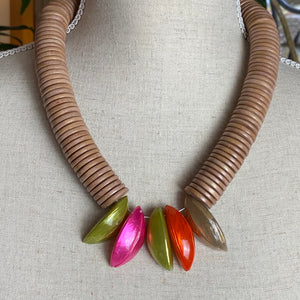 Troca Shell - Pink/ Orange/ Green Necklace