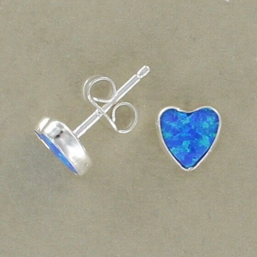 Dark Blue Heart Studs