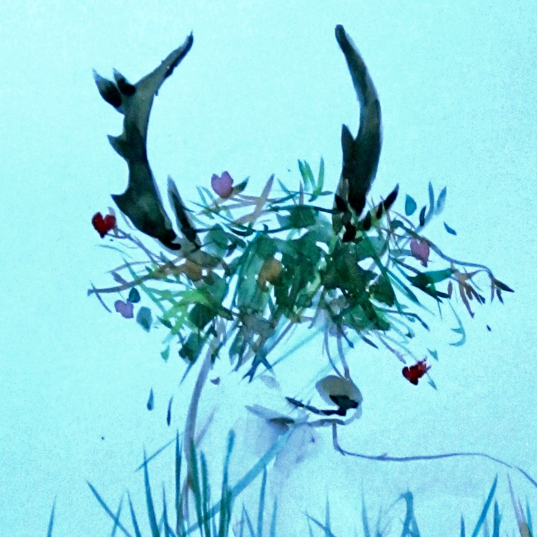 Stag Card Blue