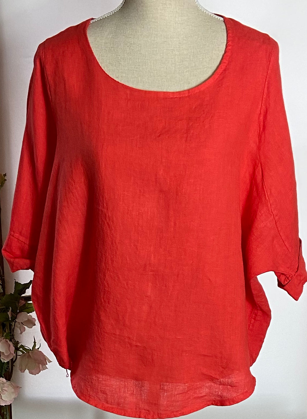 Orange Linen Top Large