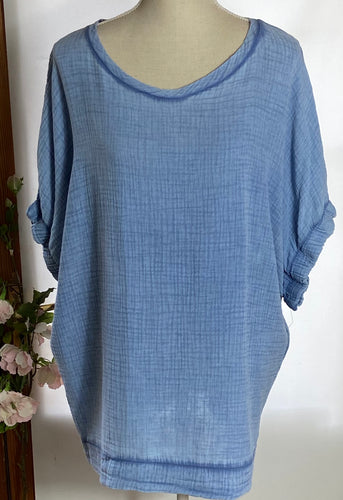 Blue Acid Wash Cheesecloth Top
