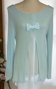 Pale Blue Coco Bow Back Top