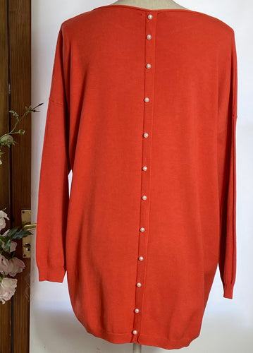 Orange Pearl Back Jumper