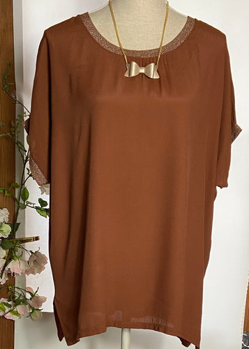 Burnt Orange top with glitter neckline