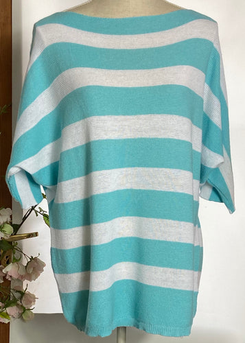 Turquoise  Stripey Fine Knit Top