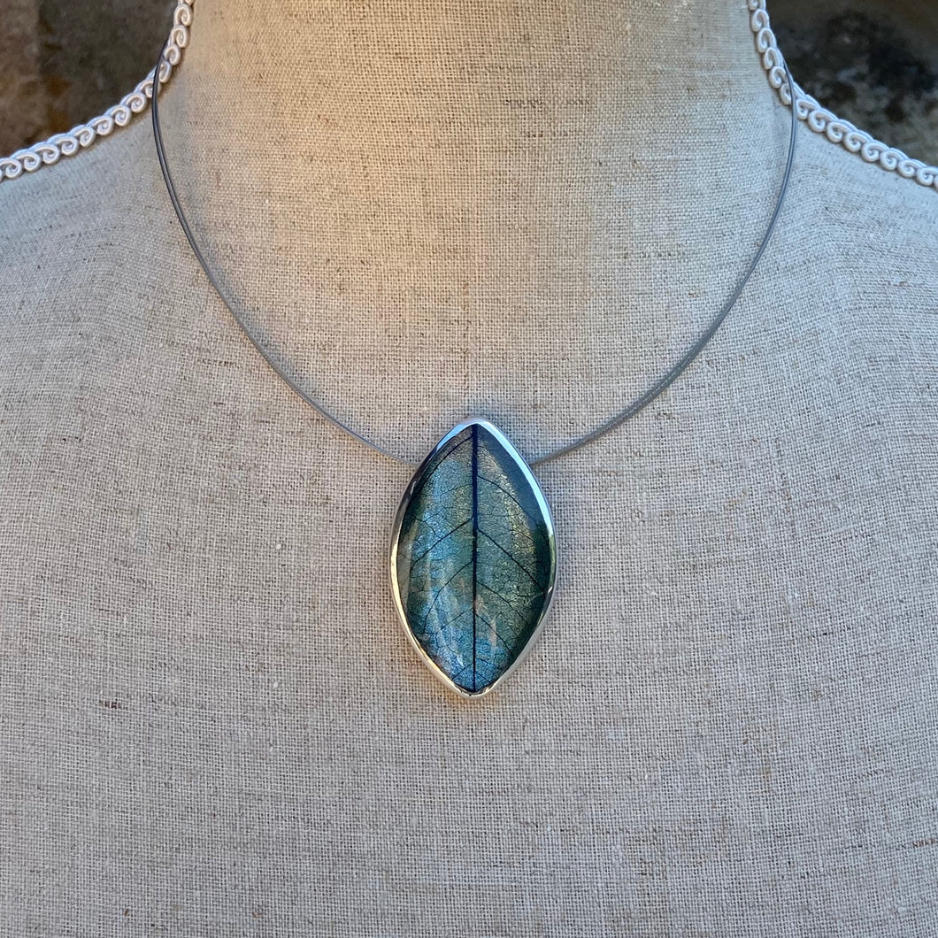 Aqua Mango Leaf Necklace