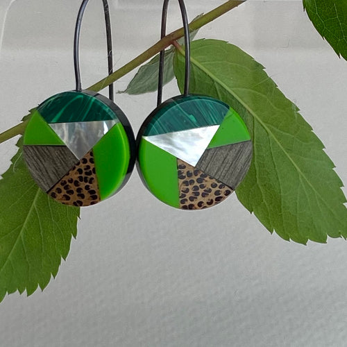 Green Envelope Earrings