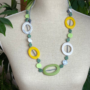 Green and Yellow Resin Necklace