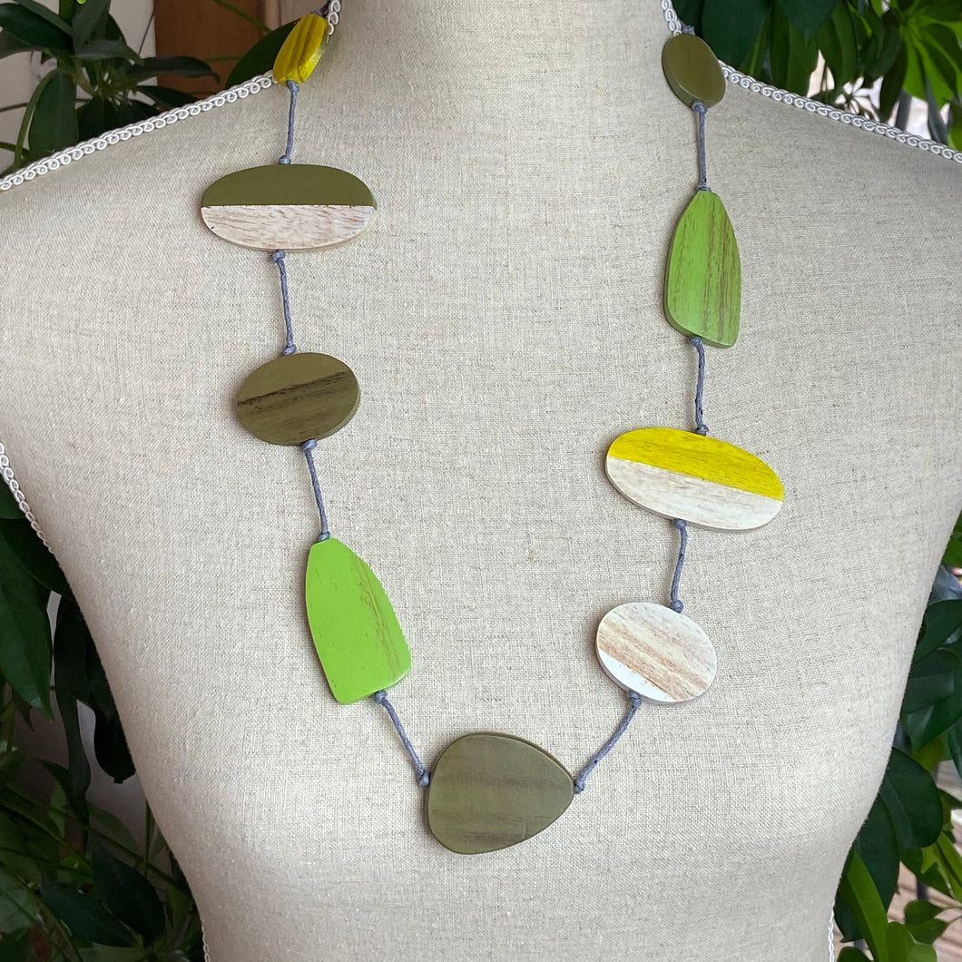 Wooden shapes necklace in Greens Yellow and Natural