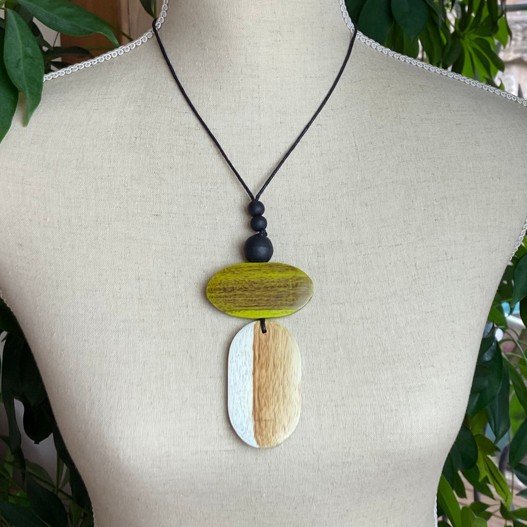 Double Wooden Natural Oval Necklace
