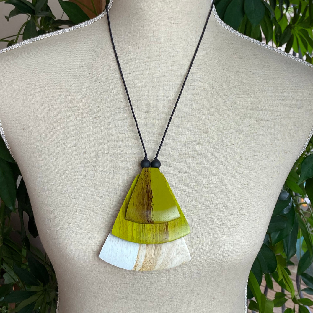 Green and Natural Wooden Pendant