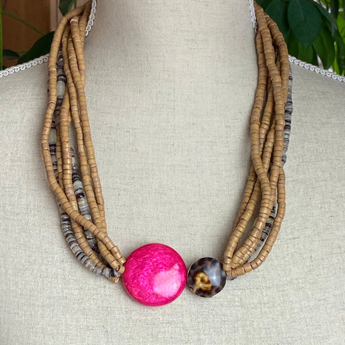 Rows of Natural beads with Pink Shell and Tortoiseshell