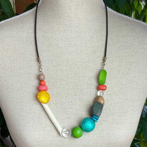Wood And Shell Necklace in Sunshine Colours