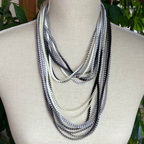 Silver/Black/White  Necklace