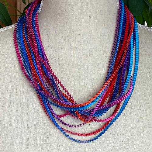 Blue, Red, Orange, Fucshia, Purple Necklace