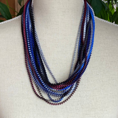 Silver, Blue, Black, Bordeaux Necklace