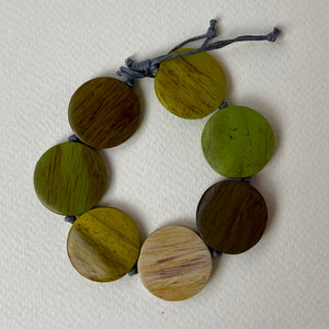 Green Wooden Pebble Bracelet
