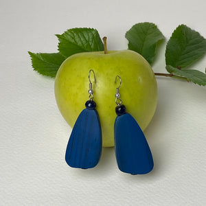 Blue Wooden Pebble Earrings