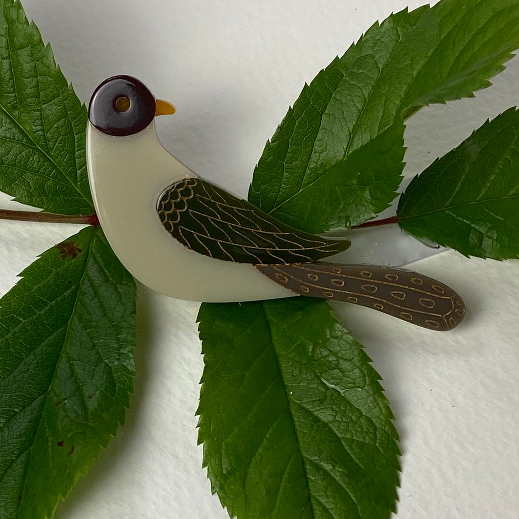 Cream and Brown Bird Brooch
