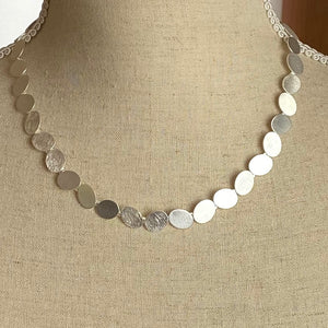 Silver Satin and Scratched Designer Necklace