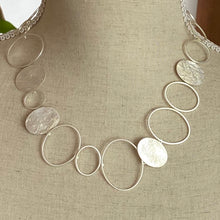 Load image into Gallery viewer, Silver Satin Hoop Necklace