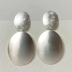 Two Piece Silver Scratch and Satin Earrings