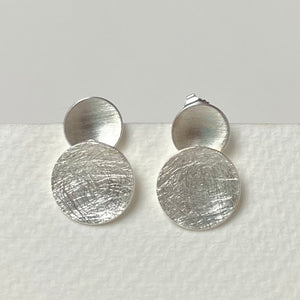 Silver Scratch and Satin Earrings