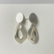 Load image into Gallery viewer, Satin Silver Two Piece Earring Clip On Earrings